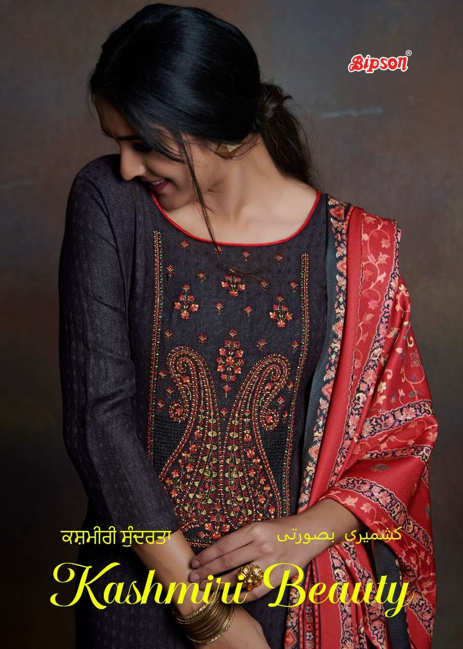 Bipson Kashmiri Beauty 1100-1103 Series Woolen Pashmina With Embroidery Work Dress Material collection