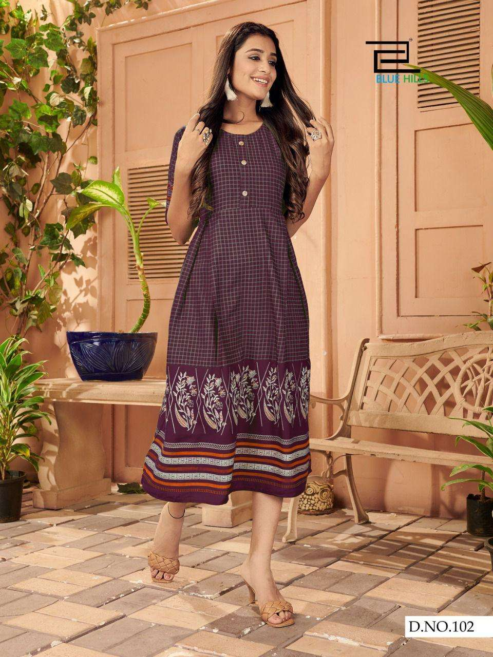 Blue Hills Kiss Miss 3 rayong designer one pc kurtis style at wholesale rate
