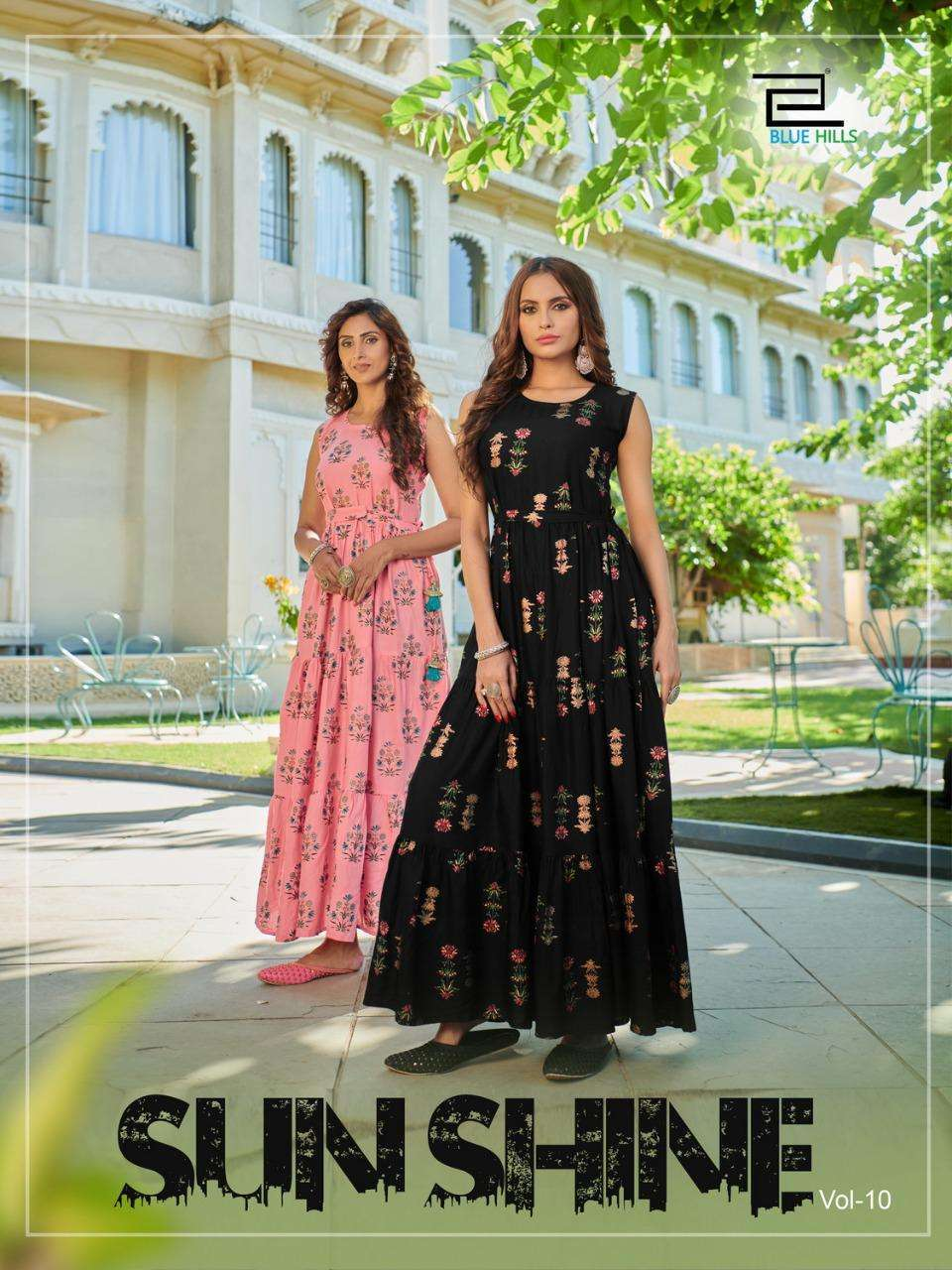 Blue Hills sunshine Vol 10 Rayon printed Long gown collection