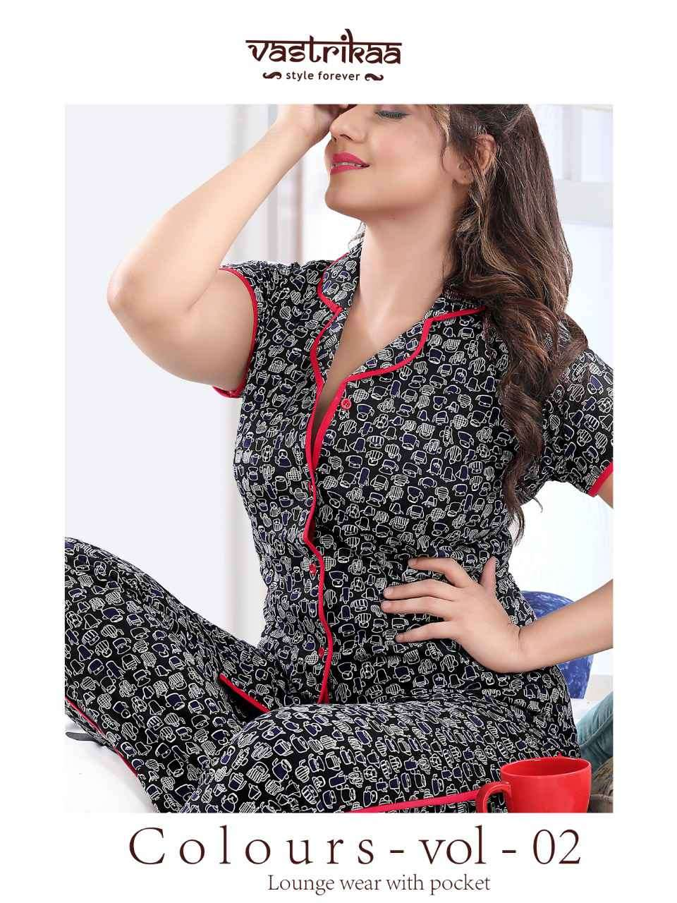 COLOURS VOL 2 COLLARED SHIRT PATTERN NIGHT SUIT LOUNGE WEAR