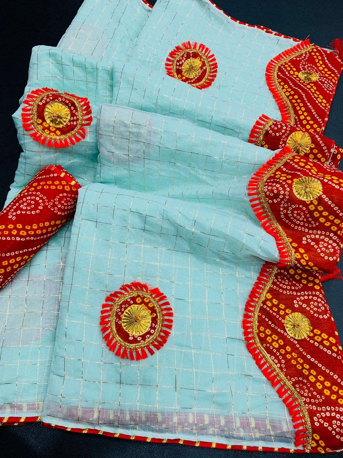 COTTON WITH ZARI CHEX  WITH BANDHANI BORDER TRADITIONAL LOOK SAREE COLLECTION 010