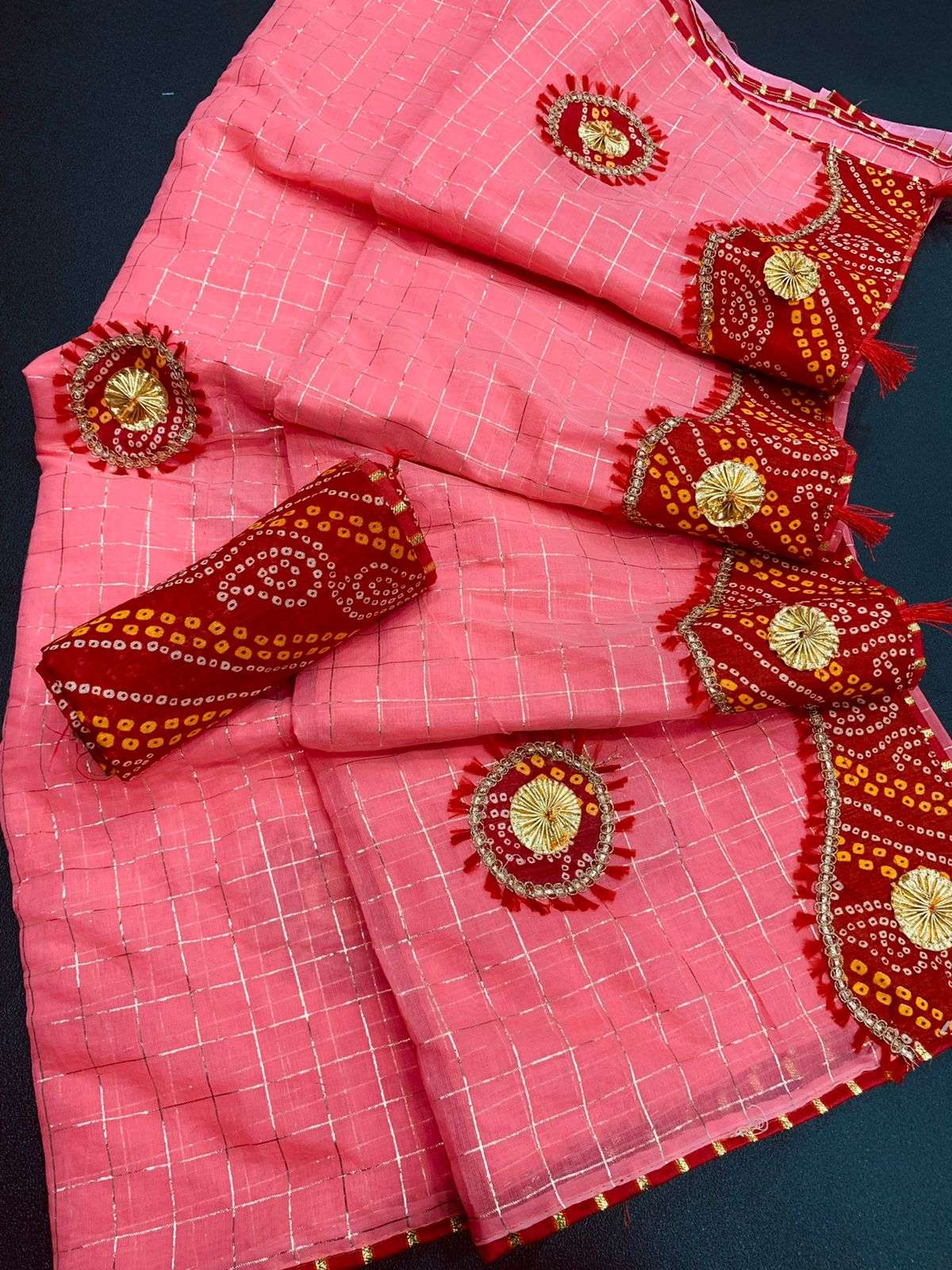 COTTON WITH ZARI CHEX  WITH BANDHANI BORDER TRADITIONAL LOOK SAREE COLLECTION 03