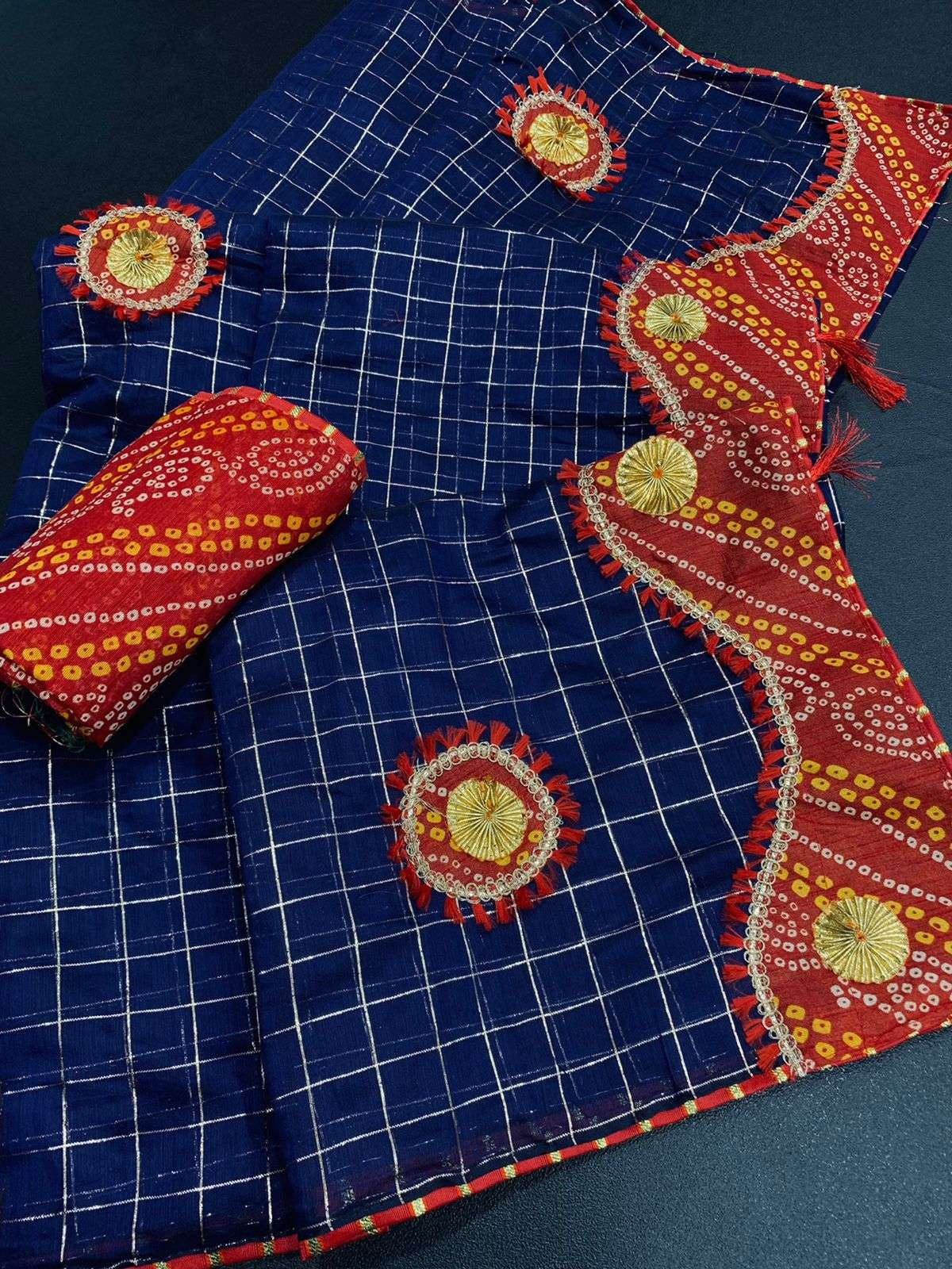 COTTON WITH ZARI CHEX  WITH BANDHANI BORDER TRADITIONAL LOOK SAREE COLLECTION 04