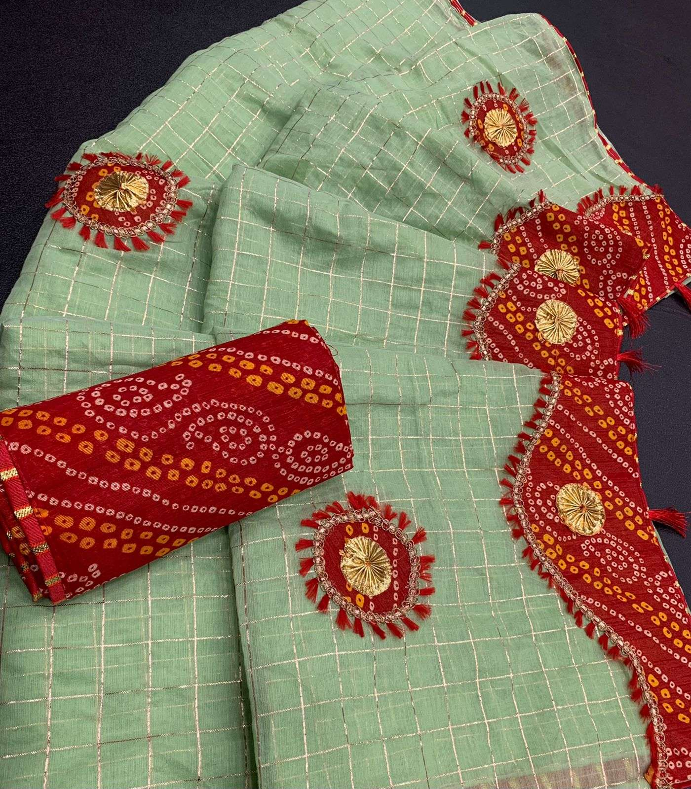 COTTON WITH ZARI CHEX  WITH BANDHANI BORDER TRADITIONAL LOOK SAREE COLLECTION 06