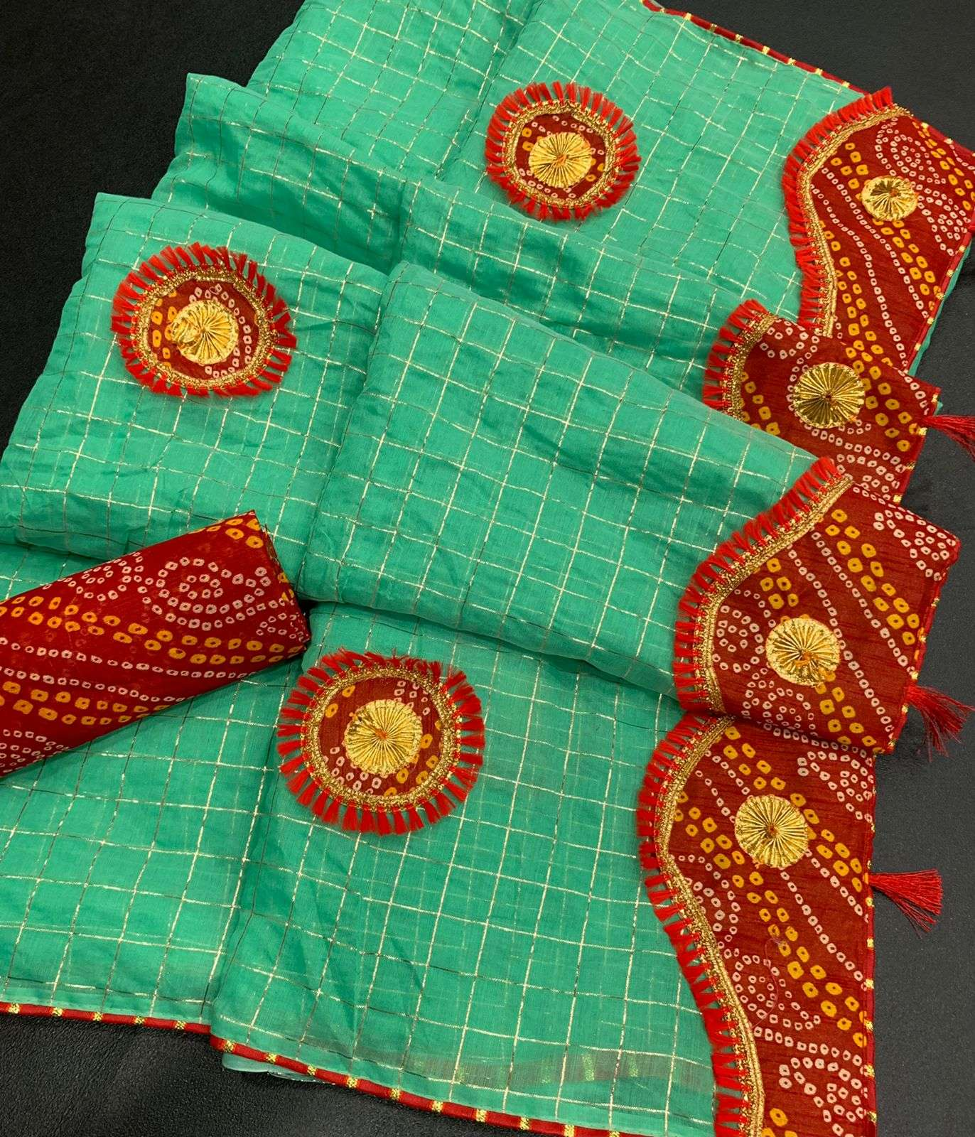 COTTON WITH ZARI CHEX  WITH BANDHANI BORDER TRADITIONAL LOOK SAREE COLLECTION 08