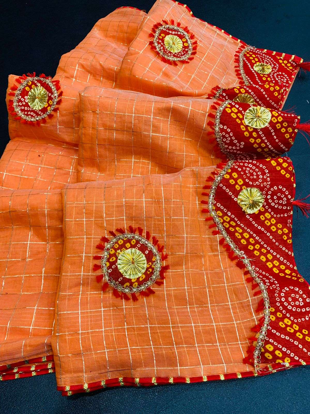 COTTON WITH ZARI CHEX  WITH BANDHANI BORDER TRADITIONAL LOOK SAREE COLLECTION 09