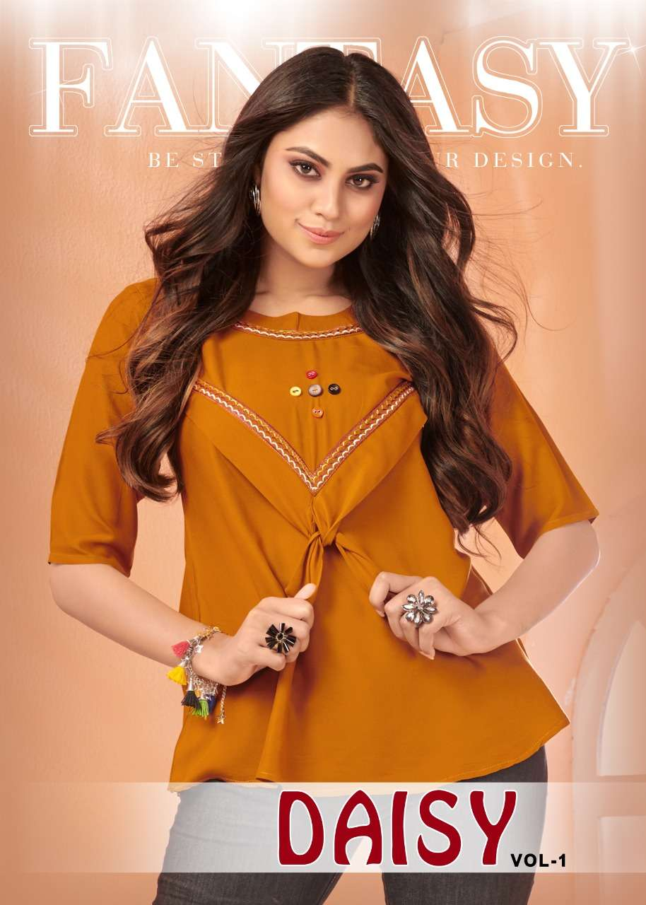 Daisy Vol 1 Rayon With Embroidery Work Western Tops Collection