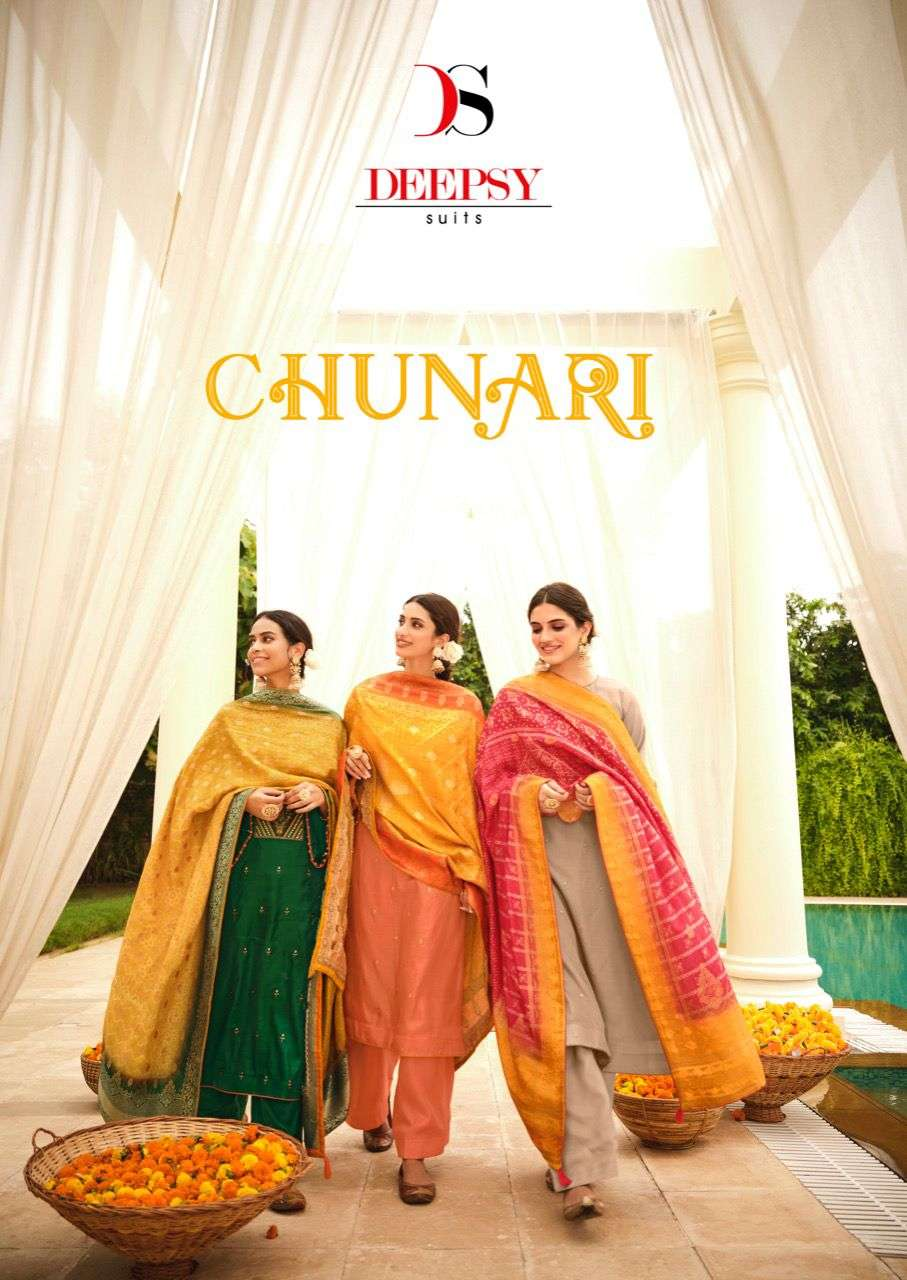 Deepsy Suits Chunari Tussar Silk With Embroidery Work Dress material Collection