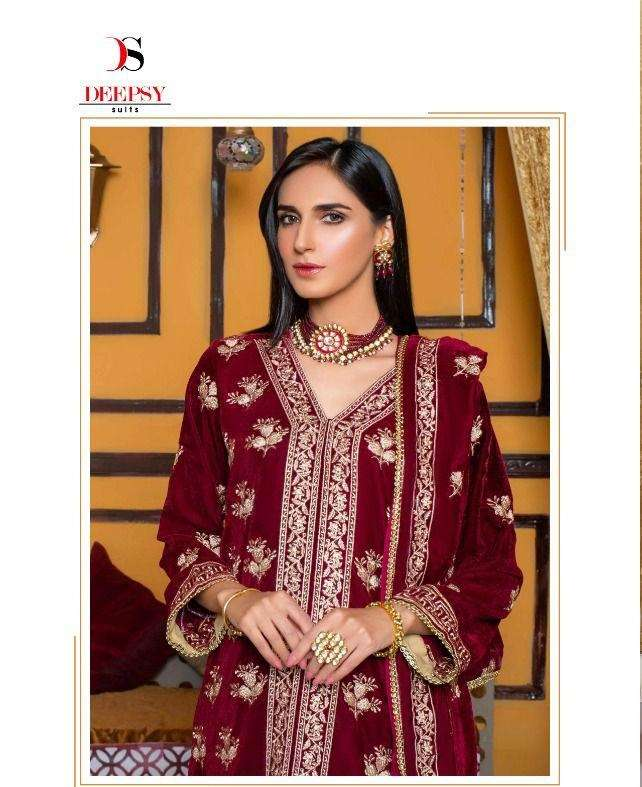 Deepsy Suits Merakish velvet with Embroidery Work Pakistani Winter Suits Collection