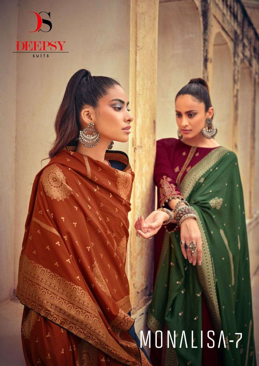 Deepsy Suits Monalisa Vol 7 Silk With Embroidery Work dress Material Collection