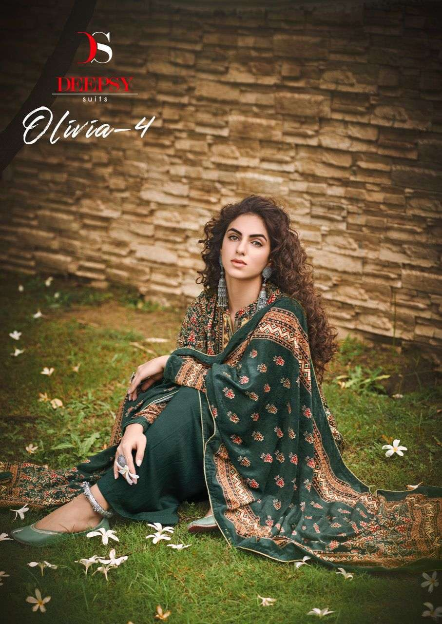 Deepsy Suits Olivia Vol 4 Velvet digital print Pashmina Suits Collection