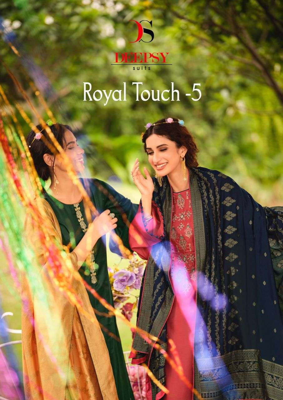 Deepsy Suits Royal Touch Vol 5 Tussar Silk With Embroidery Work Dress Material Collection