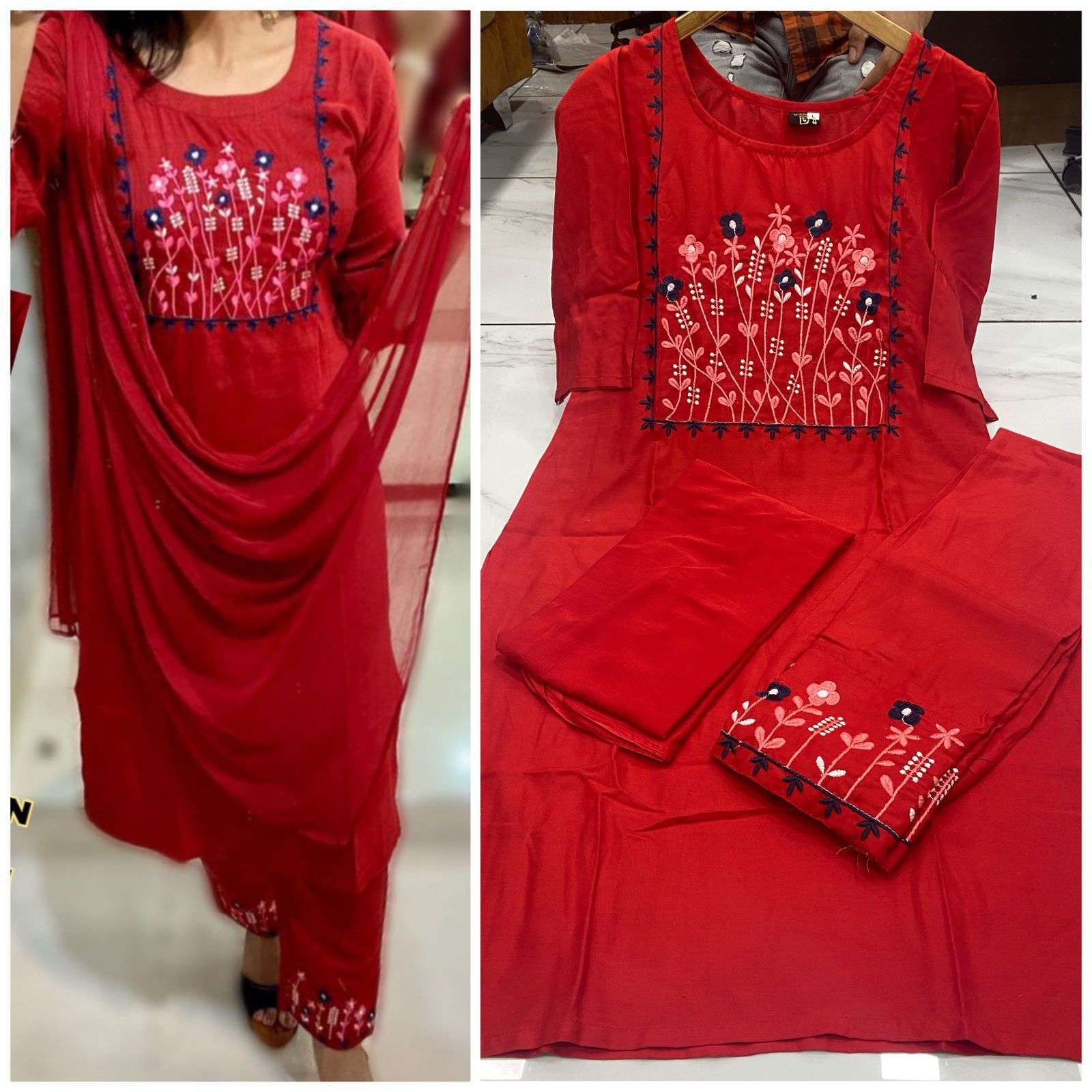 Designer Rayon With Embroidery Work Kurti With Bottom Dupatta Collection