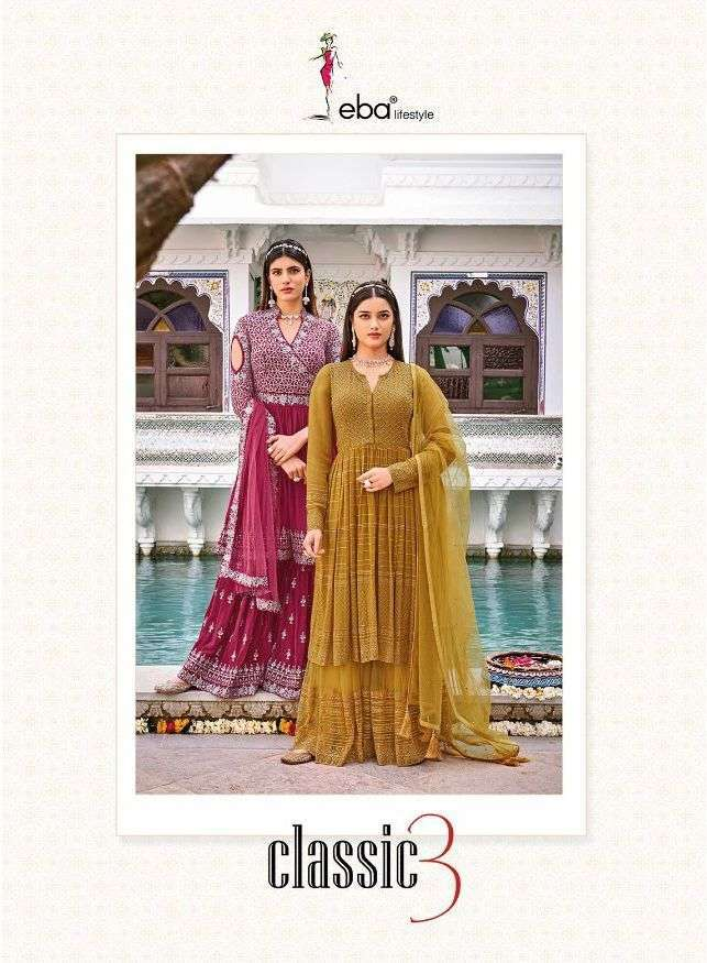 Eba lifestyle Classic Vol 3 Georgette Chinon With Embroidery Work Salwar Kameez Collection