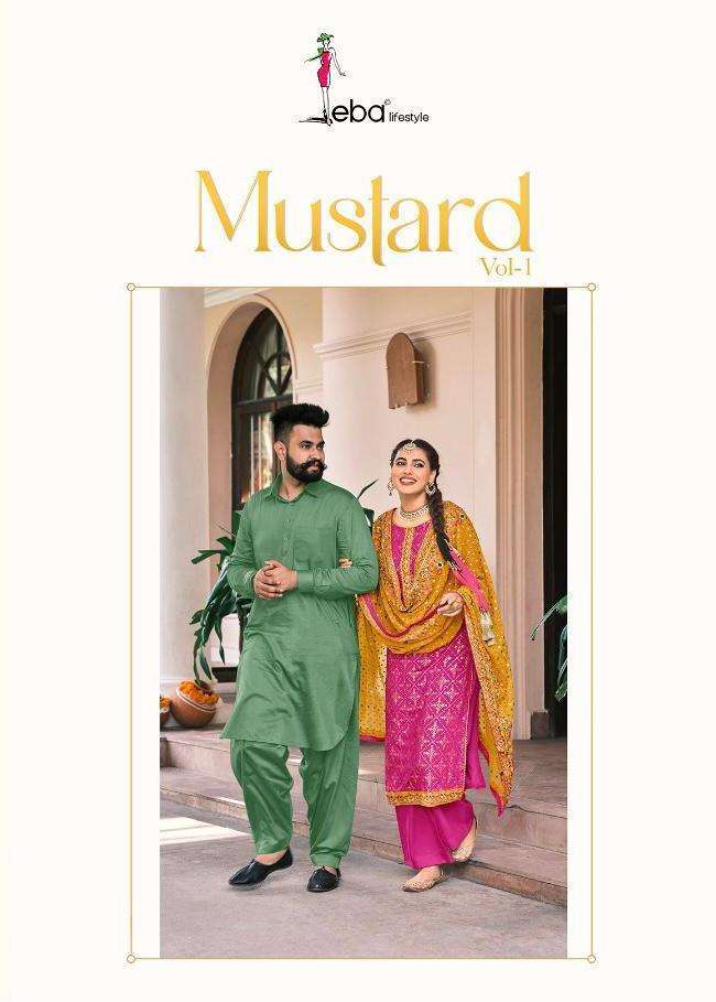 Eba Lifestyle Mustard Faux Georgette With heavy Embroidery work Dress Material collection
