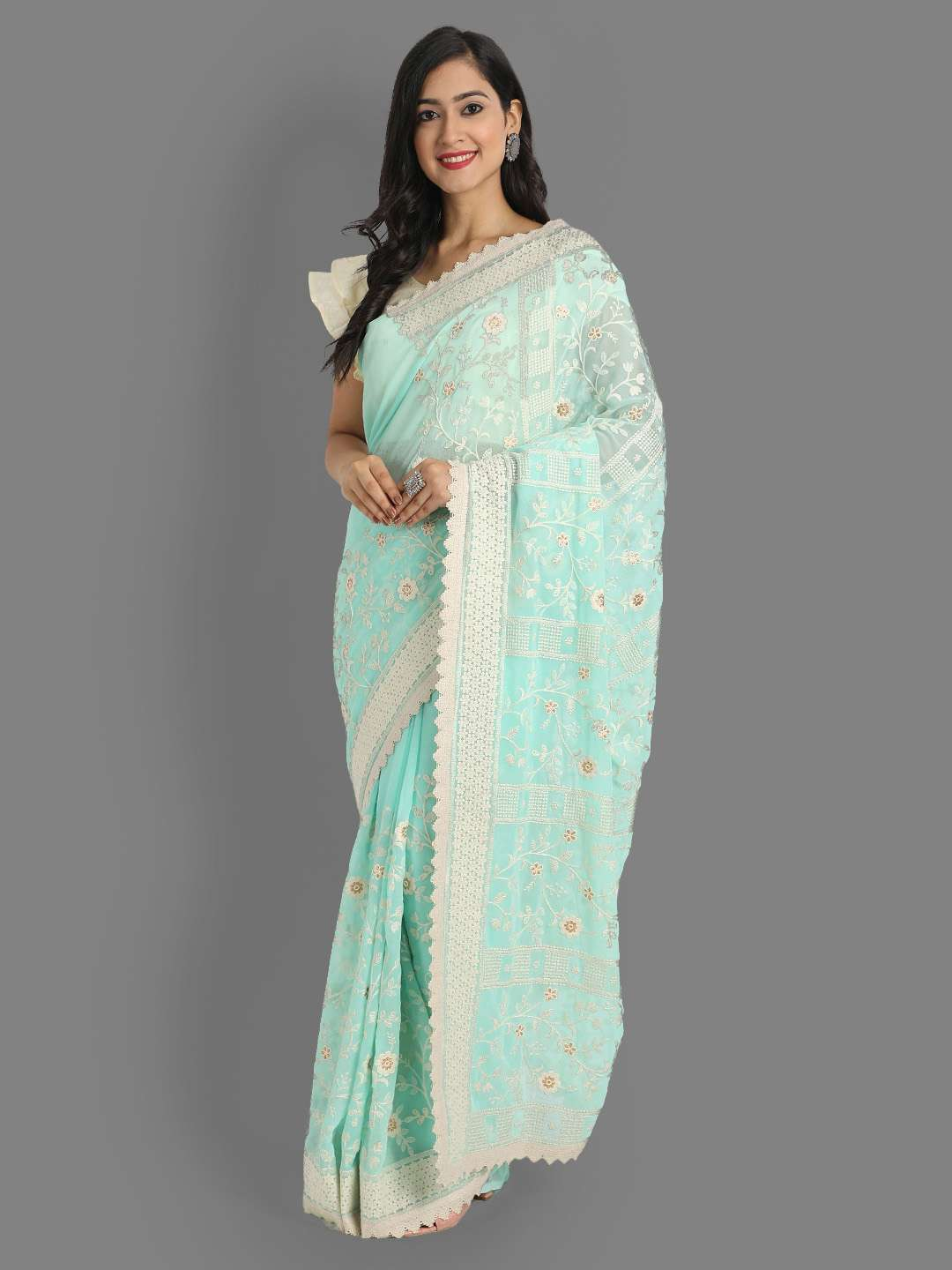 FAUX GEORGETTE LATEST PARTY WEAR RICH LOOK SAREE AT WHOLESALE PRICE