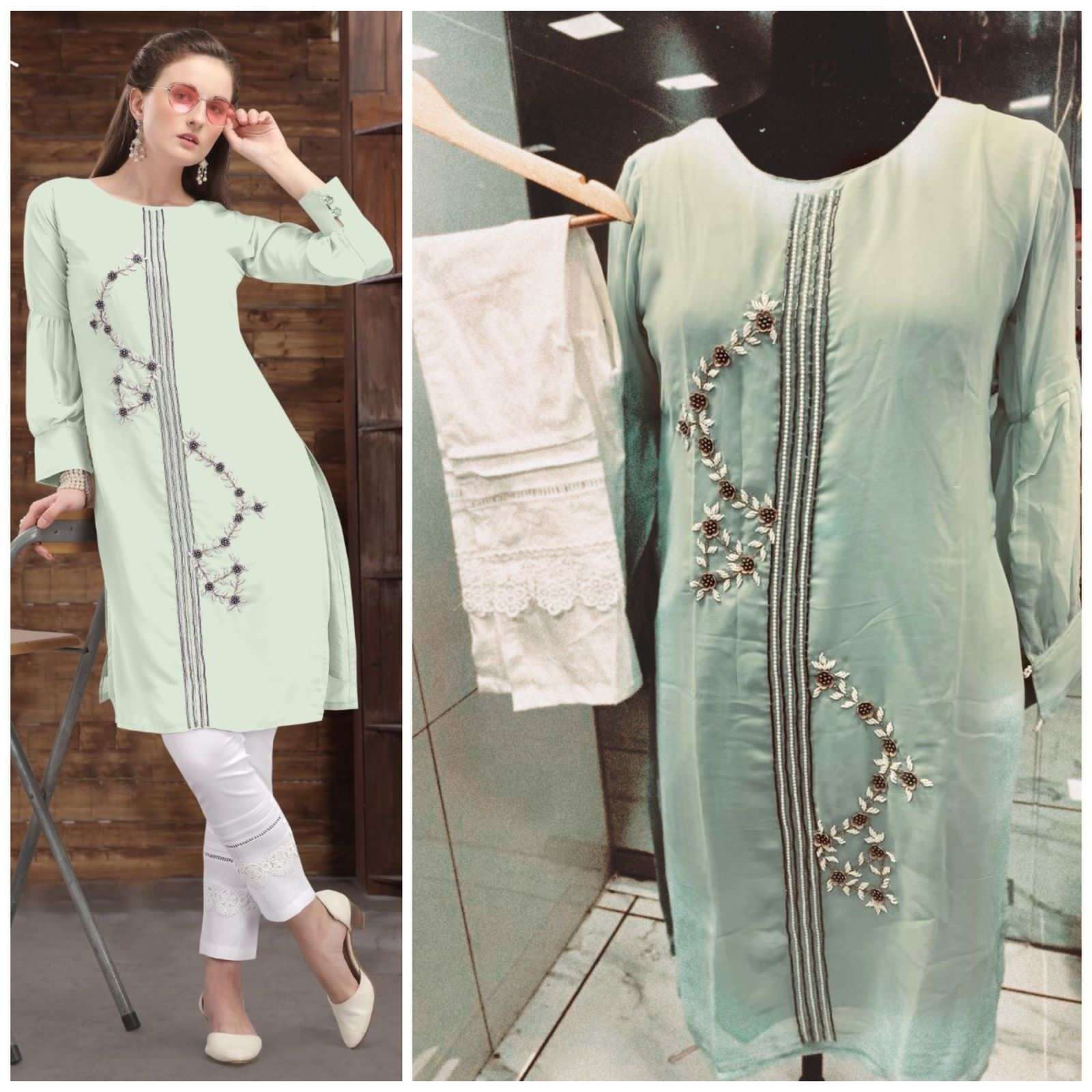 Floral Georgette Hand Work Kurti With Pant Collection 01