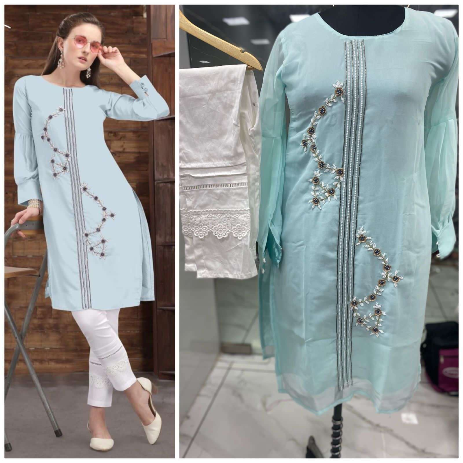 Floral Georgette Hand Work Kurti With Pant Collection 02