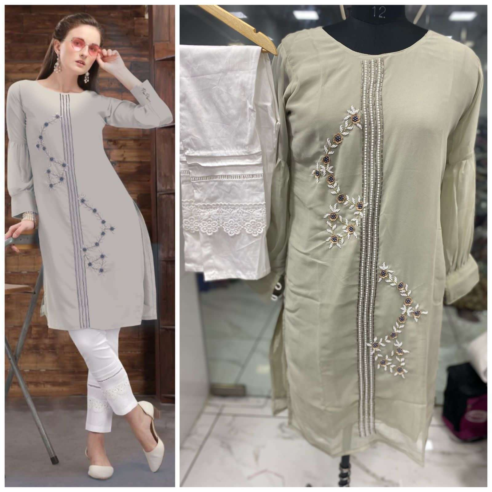 Floral Georgette Hand Work Kurti With Pant Collection 03