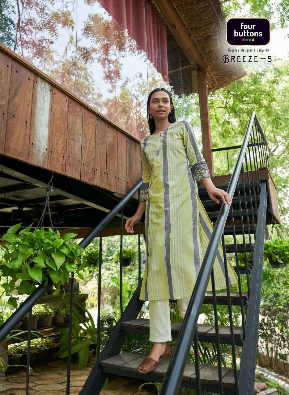 Four Buttons Breeze Vol 5 Cotton Weaving With Embroidery Work Kurtis Collection