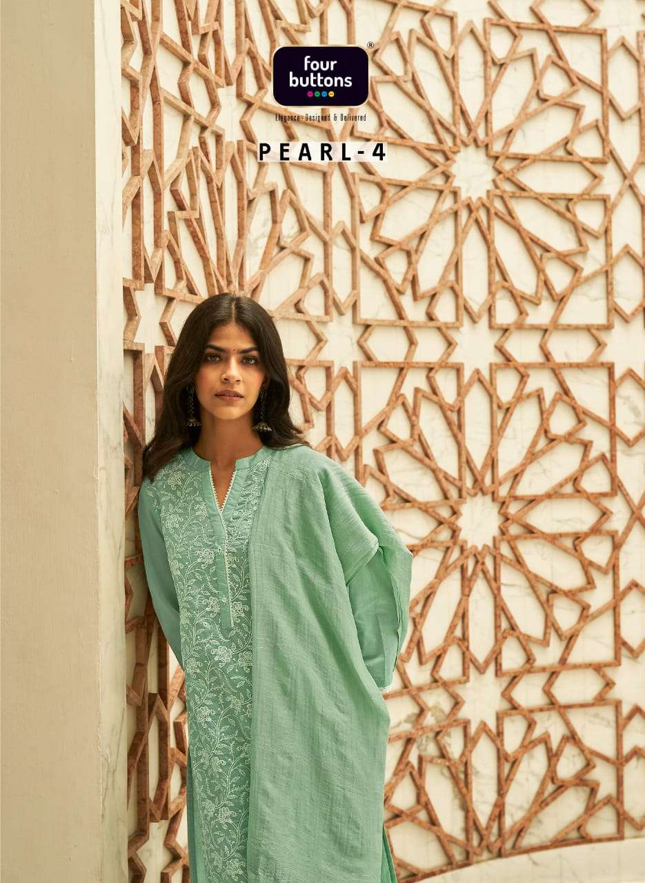 Four Buttons Pearl Vol 4 Viscose Chanderi With Lucknowi Work Kurti With Bottom Dupatta Collection