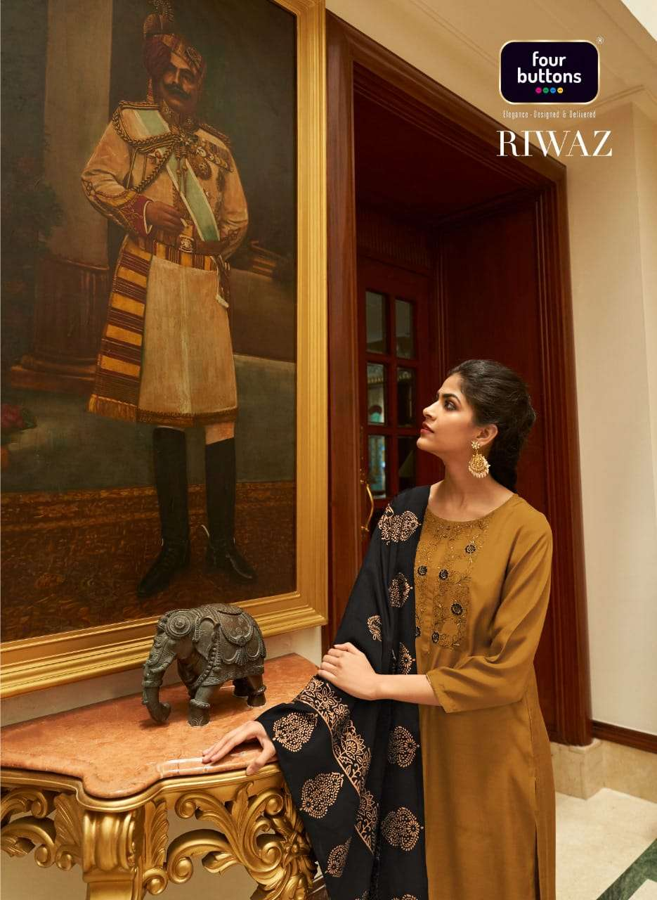 Four Buttons Riwaz Viscose Silk With Embroidery Work Kurti With Bottom Dupatta Collection