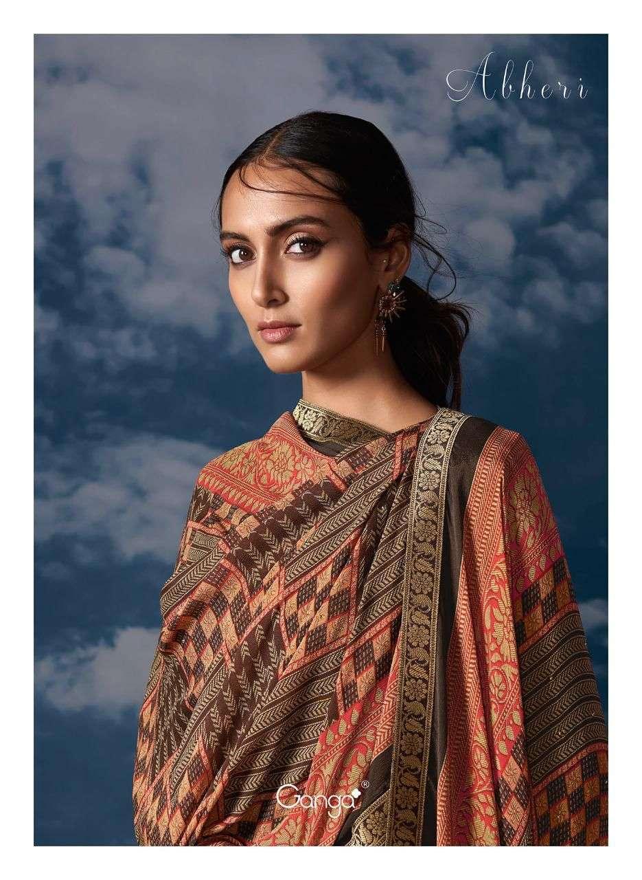 Ganga Abheri Bemberg Silk Jacquard With Embroidery Work Salwar Kameez Collection