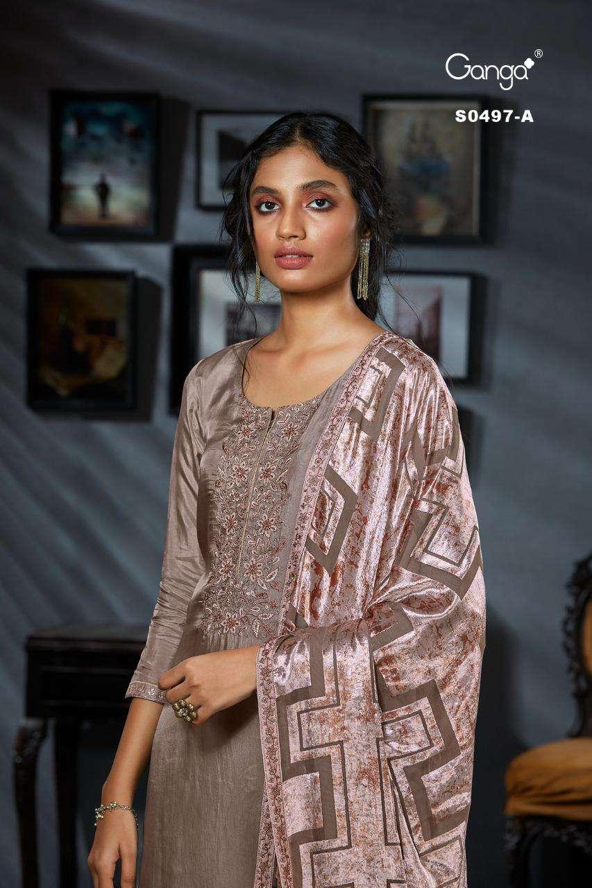 Ganga Aelin Bemberg Habutai Soli With Embroidery hand Work Salwar Kameez collection