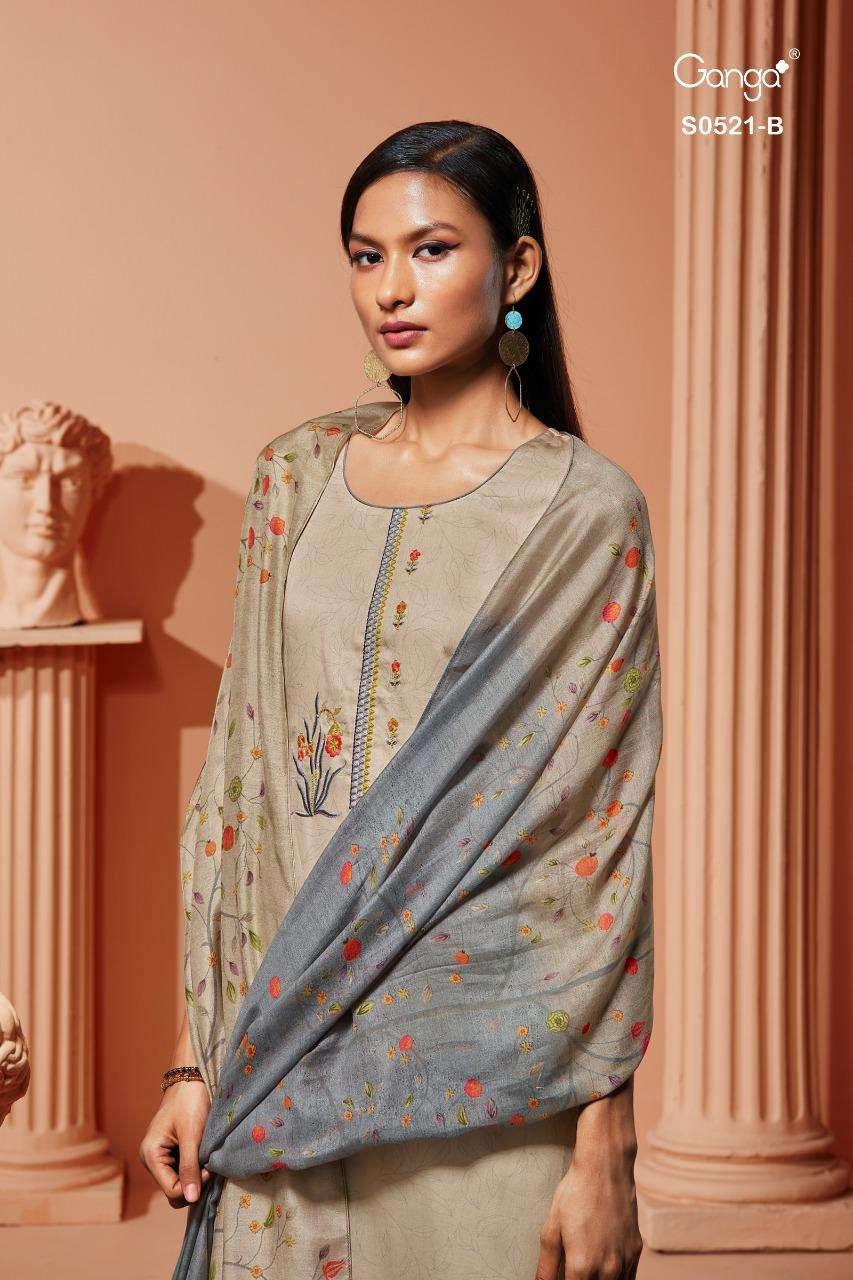 Ganga deeba 521 Series Cotton Satin printed With Embroidery Work Salwar Kameez collection