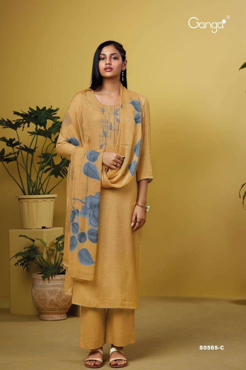 Ganga Deeba 565 Series Cotton Satin Printed With Embroidery work Dress Material Collection