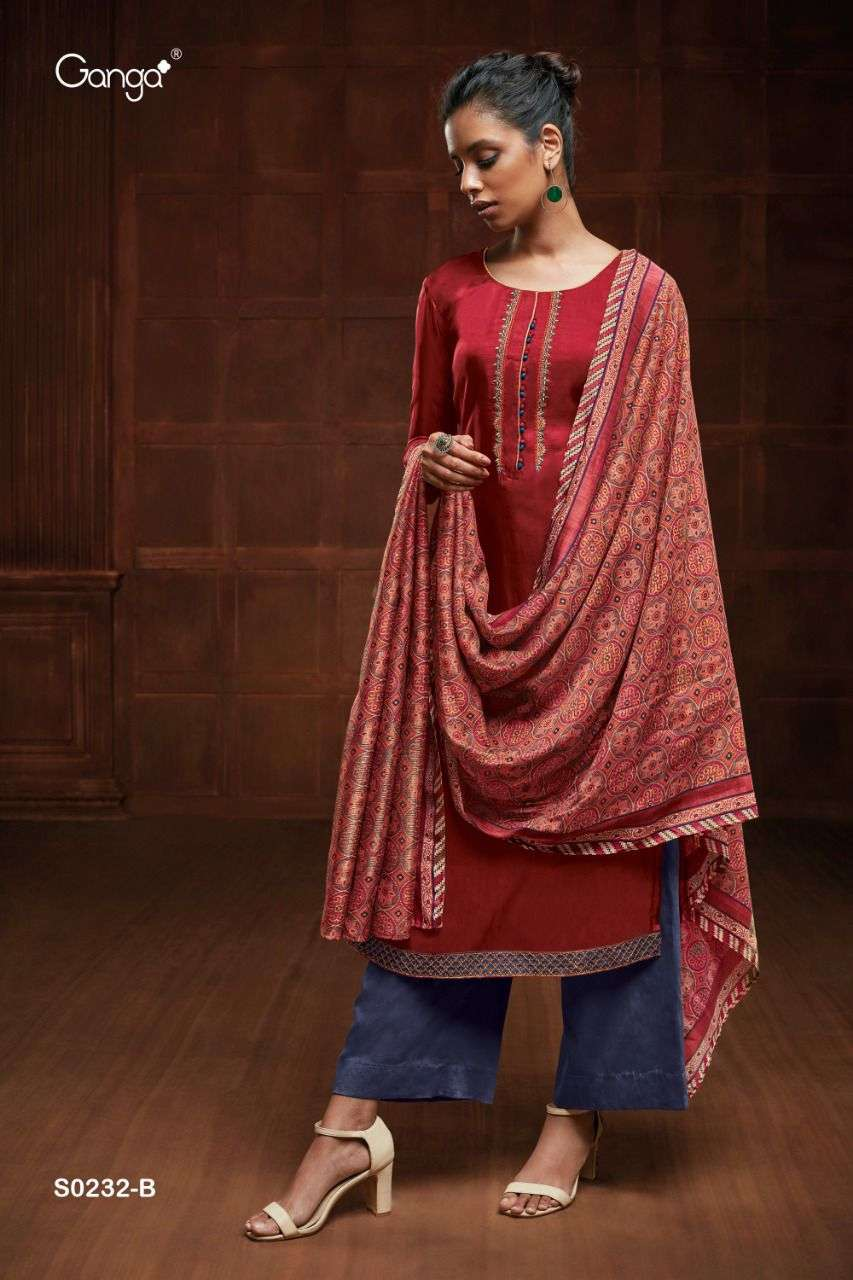 Ganga Eveleen 232 Series Silk With Embroidery Work Salwar kameez Collection