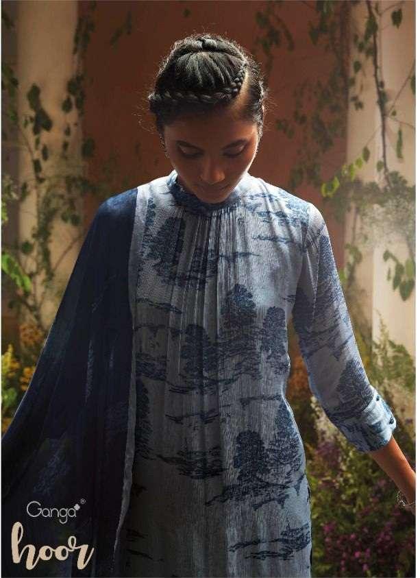 Ganga Hoor Silk Chiffon print With Work dress Material Collection