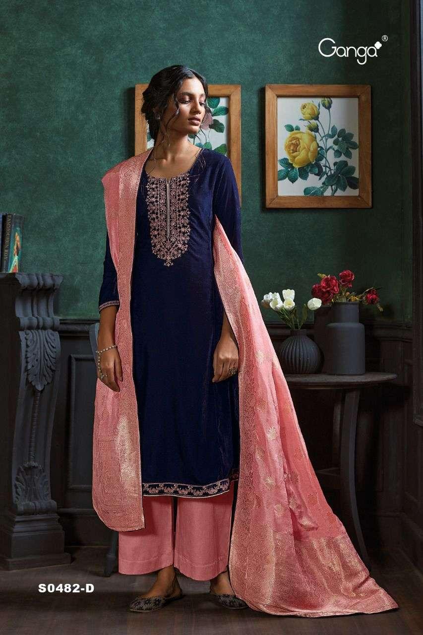Ganga Lyla 482 Series velvet with embroidery work salwar kameez collection