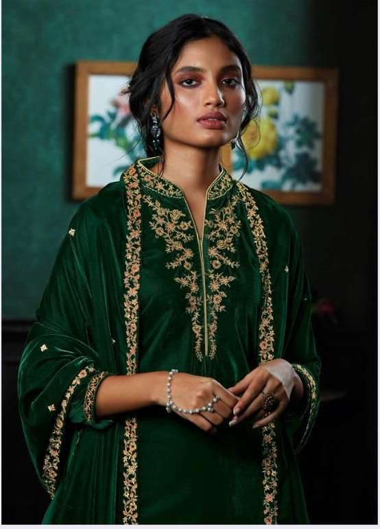 Ganga Qurb Velvet Solid With Embroidery Hand work Salwar Kameez Collection