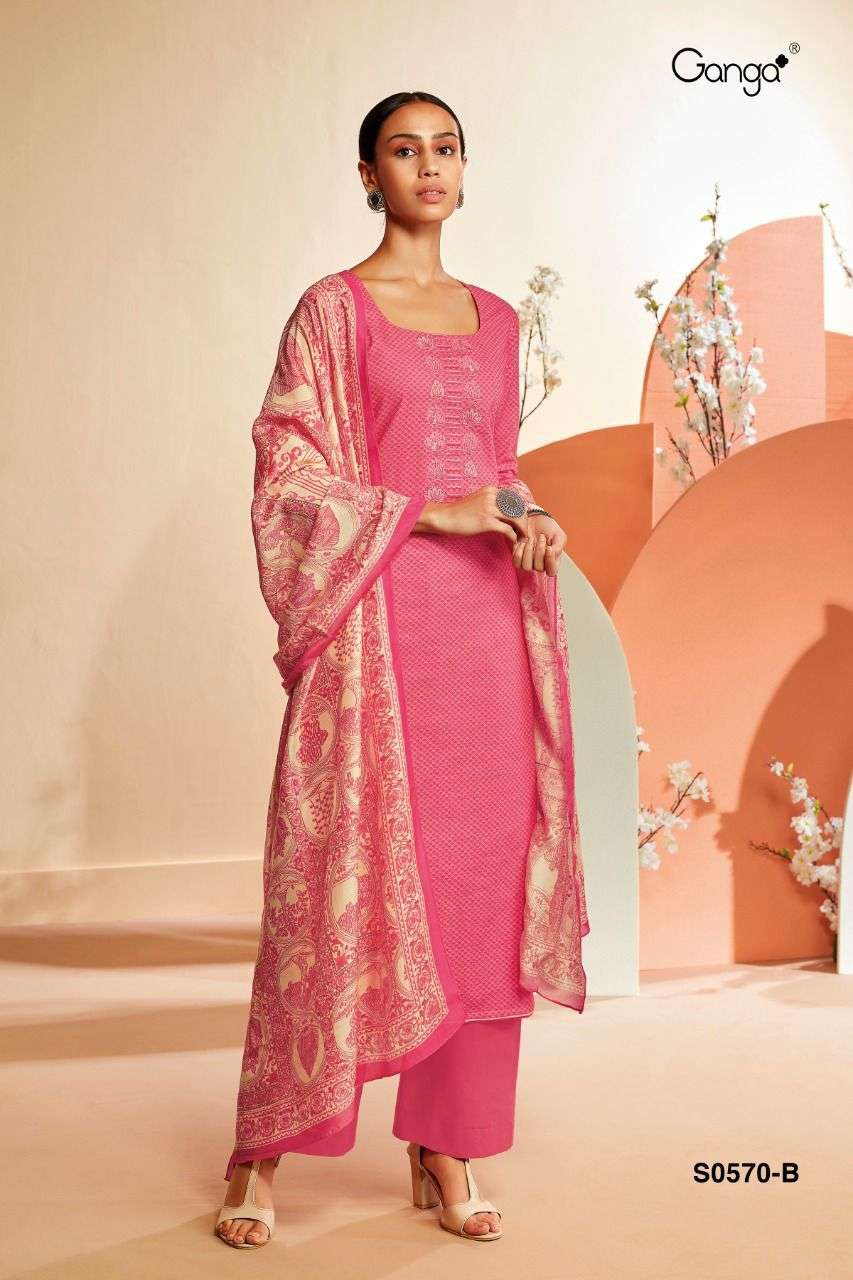 Ganga Savea 570 series Satin Cotton With Embroidery work dress Material Collection