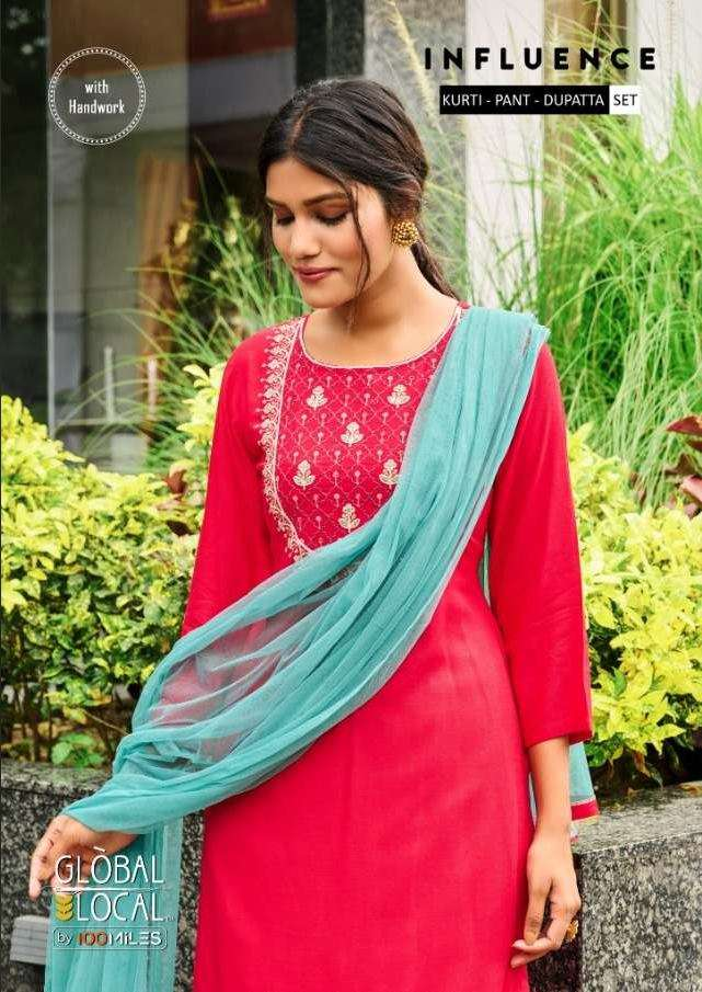 Global Local Influence Rayon with Embroidery Work Kurti With Pant Dupatta collection