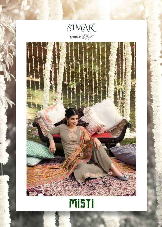 Glossy Simar Misti Pure Silk Pashmina With Embroidery work Dress material collection