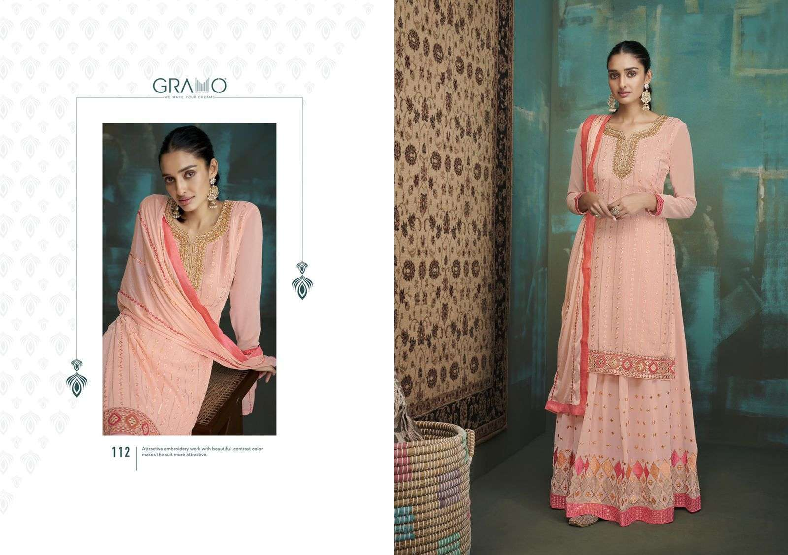 Gramo Bride Vol 1 Faux Georgette With Embroidery Work Salwar Suits Collection 02