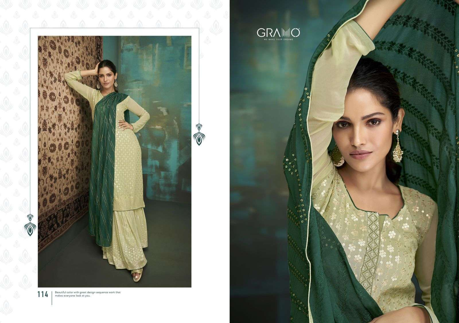 Gramo Bride Vol 1 Faux Georgette With Embroidery Work Salwar Suits Collection 04