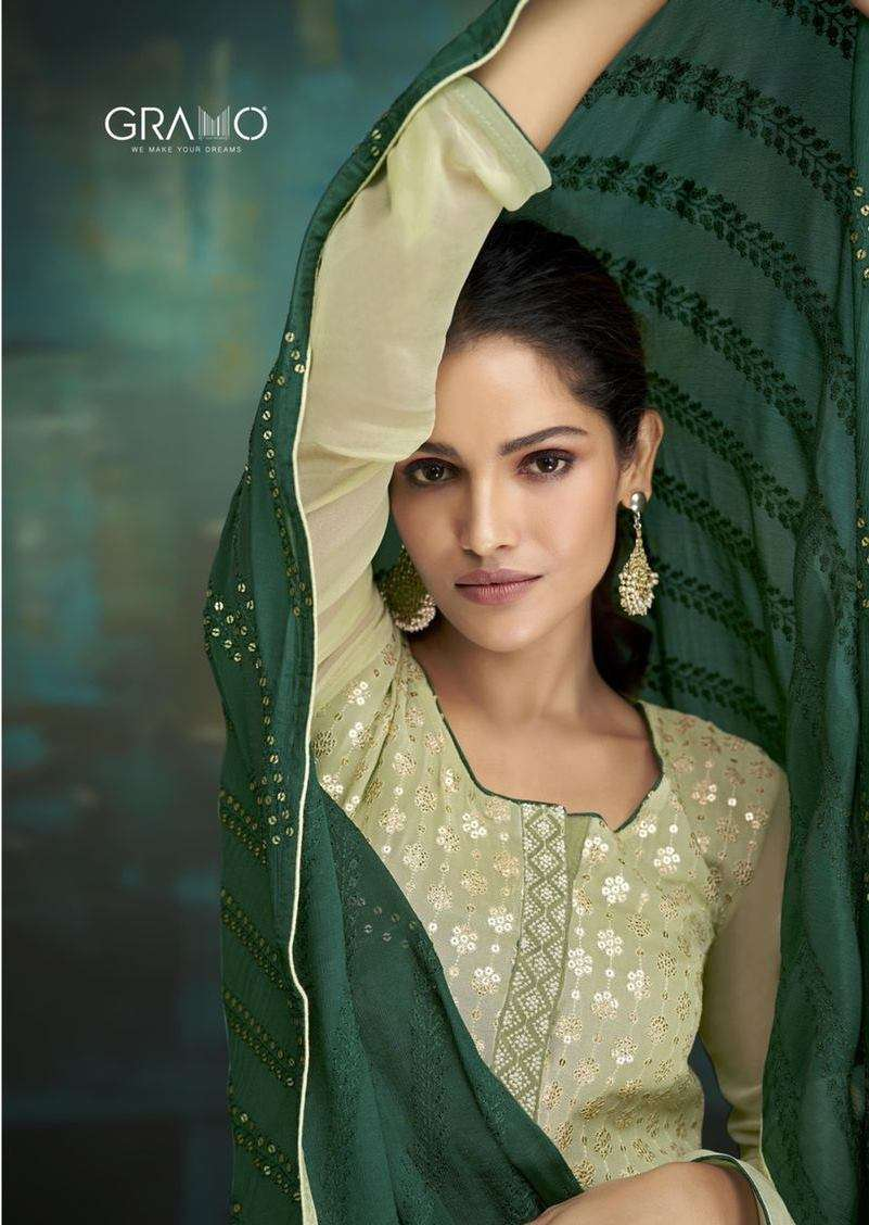 Gramo Bride Vol 1 Faux Georgette With Embroidery Work salwar Suits Collection