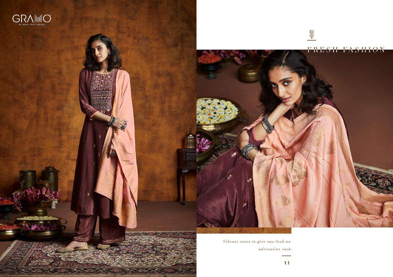 Gramo Mayra Vol 1 Fiona Silk With Work Readymade Suits Collection 04