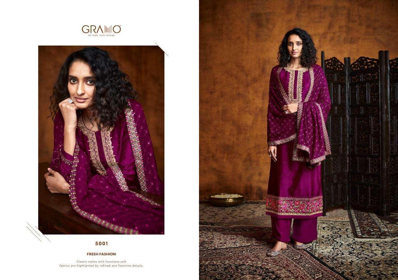 Gramo Pallavi Fiyona Silk With Heavy Embroidery Work Readymade Salwar Kameez Collection 01