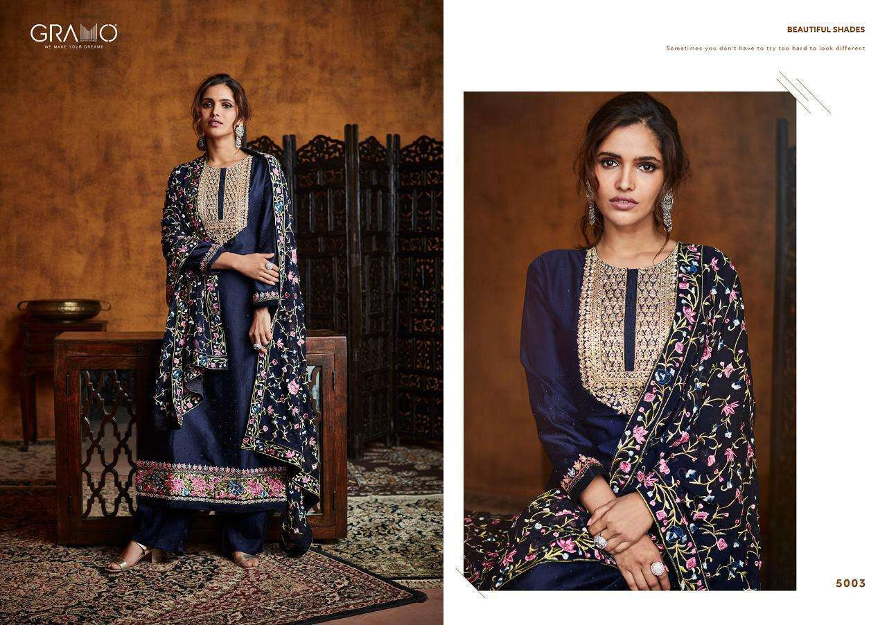 Gramo Pallavi Fiyona Silk With Heavy Embroidery Work Readymade Salwar Kameez Collection 02 0