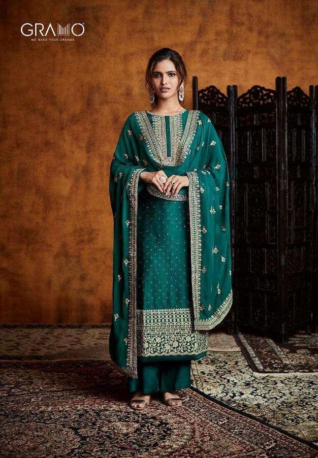 Gramo Pallavi Fiyona Silk With Heavy Embroidery Work Readymade Salwar Kameez Collection 03