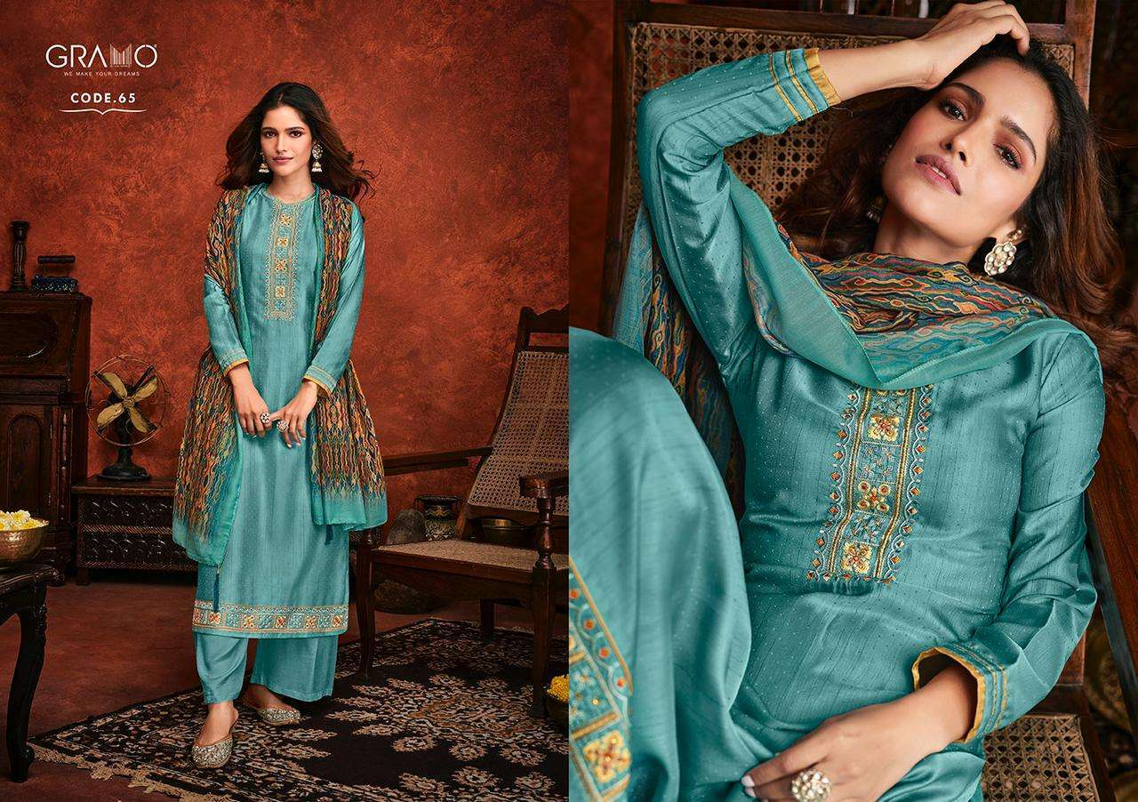 Gramo Safar Vol 2 Pure Viscose With Embroidery Work Readymade Suits Collection 05