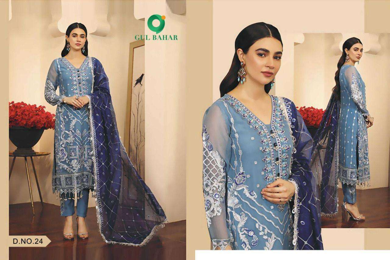 Gul Bahar Adeel Vol 1 Butterfly Net With Embroidery Work Pakistani Suits Collection 01