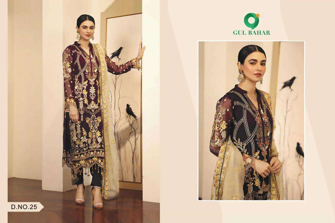 Gul Bahar Adeel Vol 1 Butterfly Net With Embroidery Work Pakistani Suits Collection 02