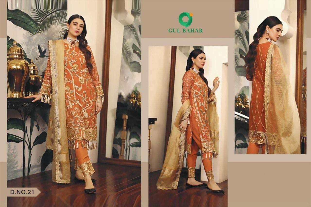 Gul Bahar Adeel Vol 1 Butterfly Net With Embroidery Work Pakistani Suits Collection 03