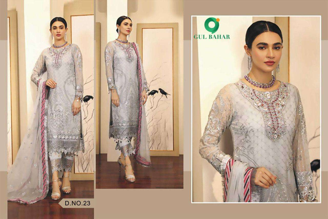 Gul Bahar Adeel Vol 1 Butterfly Net With Embroidery Work Pakistani Suits Collection 04