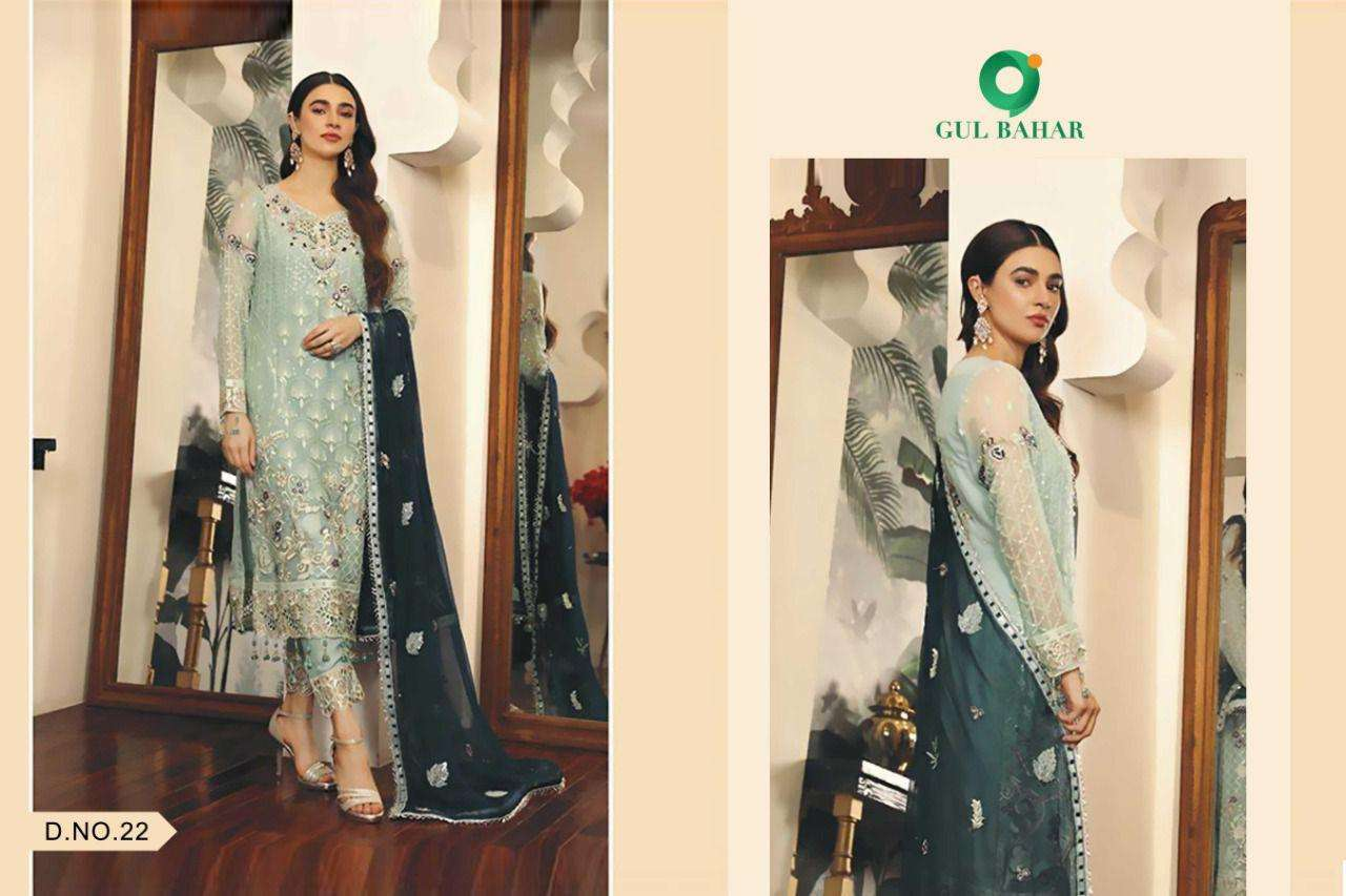 Gul Bahar Adeel Vol 1 Butterfly Net With Embroidery Work Pakistani Suits Collection 07